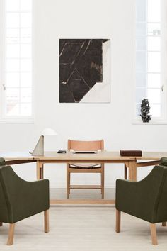 The multi-purpose table is perfectly suited for an executive office and paired with The Spanish Dining Chair, Mogensen 2207 Club Chair, Fellow Lamp and The Leather Box the look creates an exquisite feel for an interior. #fredericiafurniture #erikjørgensen #thelibrarytable #spanishdiningchair #2207clubchair #børgemogensen #fellowlamp #spacecopnehagen #leatherbox #augustsandgren #interiordesign #corporateinspiration #modernoriginals #craftedtolast Club Chairs, Dining Chairs, Library Table, Executive Office, Leather Box, Co Working, Lounge Areas, Relax, Interior Design