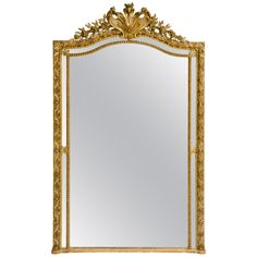 19th Century French Giltwood Mirror | From a unique collection of antique and modern wall mirrors at https://www.1stdibs.com/furniture/mirrors/wall-mirrors/