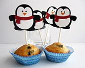 12 Penguin Cupcake toppers , adorable winter Christmas Die cut layered Penguin Cupcake toppers