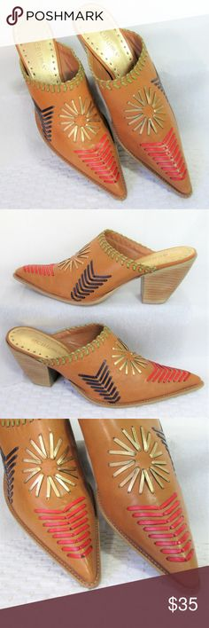 """BCBGirls* S.W. Boho Leather Mules Gorgeous caramel pointed toe slides. Block heel, decorative leather stitching in black, red, gold.. 3"""" chunky heel.  In beautiful condition, minor wear to soles. BCBGirls Shoes Mules & Clogs"""