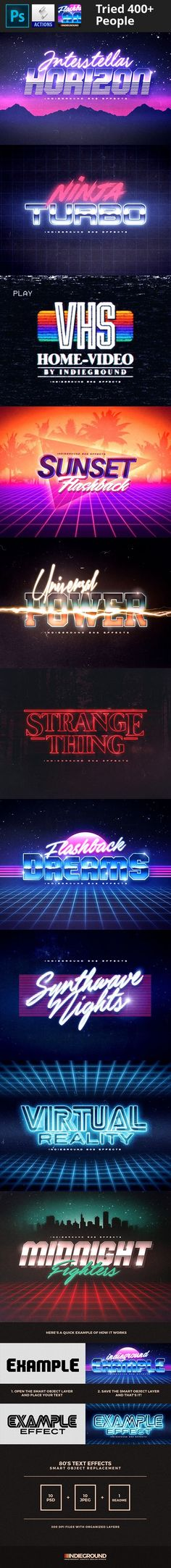 "1980's, 1980s, 3d, 70s, 80's, 80s, add-on, classic, effect, hipster, indieground, insignia, label, logo, metal, mock-up, mockup, pattern, photorealistic, rad, retro, style, synthwave, text, type, typography, vhs, vintage 80's Retro Text Effects ""Simple & 3d Retro Effect"" – This graphic resource gives you a quick & easy possibility to apply an high quality retro / vintage / futuristic / 80s classic style to your text. You can use it on simple text, shapes and vector logo. You..."