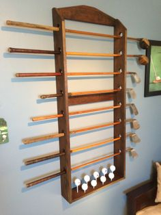 Great for displaying clubs and balls - I make these to order - ask me for details! Golf Clubs, Wine Rack, Balls, Display, Store, How To Make, Stuff To Buy, Home Decor, Floor Space