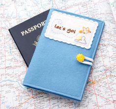 Blue Felt Passport Cover Light Blue Passport by JennMaruskaDesign