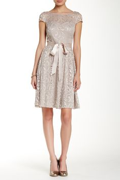 Ribbon Belt Lace Cocktail Dress  by Marina on @nordstrom_rack
