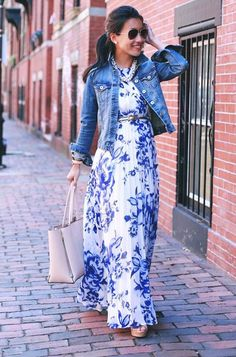 Blue Floral Print Ruffle Chiffon Casual Maxi Dress