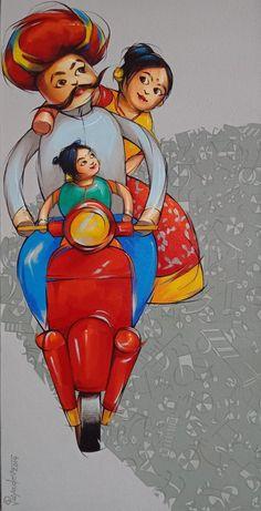 Madhubani Art, Madhubani Painting, Krishna Painting, Rajasthani Art, African Art Paintings, Oil Paintings, Landscape Paintings, Ac2, Posca Art