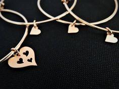 Mother daughter bracelet Set Heart Bracelet Mother and Daughter jewelry Set of 4 Bangles Rose gold Bangle Bracelets Mother of the Bride Gift Gold Bangle Bracelet, Heart Bracelet, Gold Bangles, Bracelet Set, Dainty Jewelry, Jewelry Sets, Unique Jewelry, Mother Daughter Bracelets, Personalized Bracelets