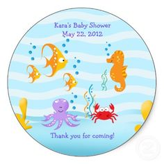 SEA CRITTERS Under Sea Baby Shower Favor Sticker by allpetscherished