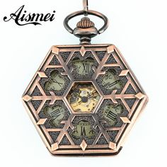 2017 Hexagon hollow mechanical pocket watches with chain for men and women retro style fob watch New Arrival Vintage