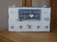 Hakenleisten - ♥ Schlüsselbrett ♥.*Zuhause... ist...* mit Herz - ein… Etsy, Art, Boards, Dog, Ad Home, Projects, Deko, Craft, Art Background