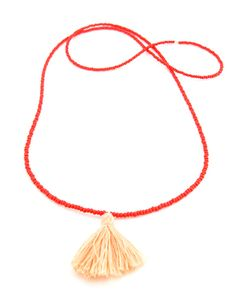 The Coral Tassel Necklace by JewelMint.com, $80.00