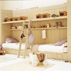 I like this configuration for two beds and the shelves above them