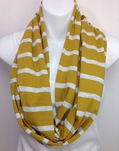 Mustard and Oatmeal striped infinity scarf by DesignsbyFerdi