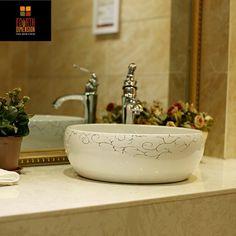 Cheap Moderno artistico golden liner bianco lavabo in ceramica rotonda coutertop lavandino del bagno, Compro Qualità Lavelli da bagno direttamente da fornitori della Cina:  Caro amico,  Se non vi è alcun methord di