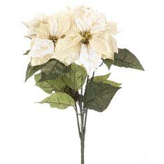 White & Gold Metallic Satin Poinsettia Bush