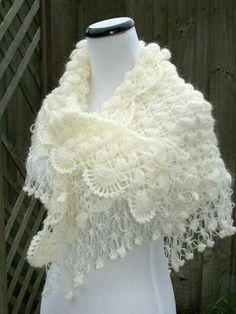 Bridal Shawl / Bridal Shrug Bolero / Shrug / Wedding Accessories / Ivory Shawl / Crochet Shawl Bolero: http://goo.gl/3bPt8z -Pamela #crochet #crafts #art #crochetersanonymous.com