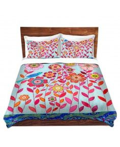Duvet Covers and Shams from DiaNoche Designs | Sascalia - Blue Bird | Flowers Birds Girls | Pink Blue Red