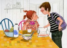 I believe this is a book illustration.  How cute; brother and sister. Pest!