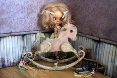 available Sweet baby rocking horse by Rebeca Cano ~ Cookie dolls, www.facebook.com/CookieDolls