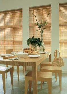 Kitchen Interesting Beige Blinds For The Plants On Top Wooden Dining Table Set Jpg Stunning for the