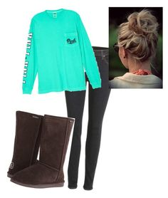 """""""bummy day"""" by whitwhitmartin on Polyvore featuring J Brand, Victoria's Secret, Bearpaw, women's clothing, women, female, woman, misses and juniors"""