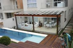 Pergola em Madeira … Genç Odası – home accessories Outdoor Pergola, Outdoor Rooms, Outdoor Living, Outdoor Decor, Rooftop Design, Rooftop Terrace, Small Backyard Pools, Backyard Patio Designs, Apartment Balconies