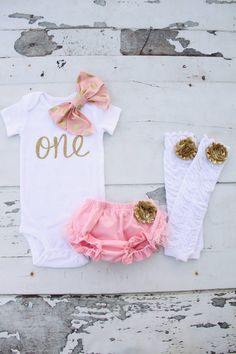 """Baby Girl First Birthday Gold """"ONE"""" and Bow Set!"""