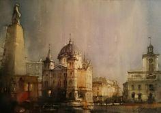 Jacek Jaroszewski- Lodz, Plac Wolności- watercolour 35x52cm, 2016