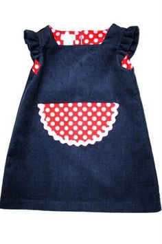 MaisyMoo Designs winter corduroy pinafore for cuddly girls in gorgeous navy blue with big red and white pocket