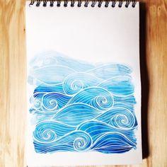 Spiral Drawing, Ocean Drawing, Watercolor Ocean, Tattoo Watercolor, Watercolour, Dibujos Zentangle Art, Watercolor Paintings For Beginners, Wave Art, Alcohol Ink Painting