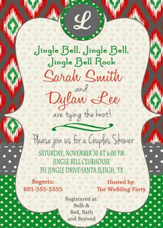 christmas bridal shower invitation holiday open house retro digital