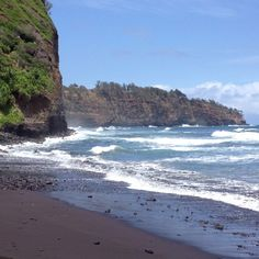 Walking on a black sand beach.