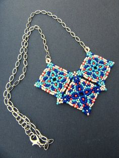 RESERVED Mosaic Tile Beadwoven Necklace in Blue by LaBellaJoya