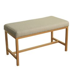 HomePop Long Rectangular Bench with White Herringbone Fabric and Gold Metal Base