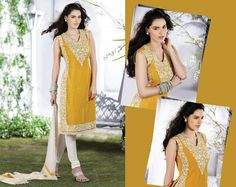 Chic Gold Color & Ivory Salwar Kameez | StylishKart.com