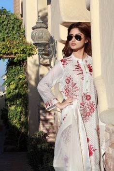 Beautiful Sajal Ali in white and red kameez