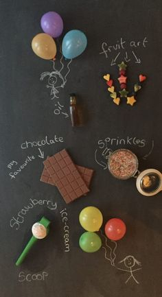 Blackboard of ingredients for chocolate balloon cups. A recipe that the kids will love to taste and love to make! Chocolate Cups, Chocolate Ice Cream, Eton Mess, Water Balloons, How To Make Chocolate, Sweet Treats, Tasty, Recipe, Kids