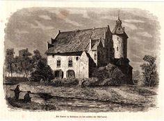 antique print castle Rechteren houtgravure kasteel 1882 Dalfsen