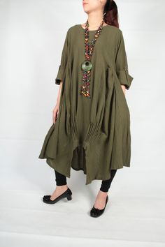 Military Green cotton dress long sleeve dressmaxi by smileclothing, $62.00