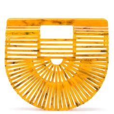 Cult Gaia mini Ark clutch bag (€325) ❤ liked on Polyvore featuring bags, handbags, clutches, orange clutches, miniature purse, orange handbags, mini handbags and orange purse