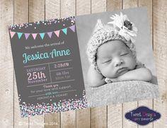 BIRTH ANNOUNCEMENT Girl, Printable BABY Thank you Card, Confetti Invitation, Confetti Baby Thankyou, Confetti Flags Jesse Birth Announcement