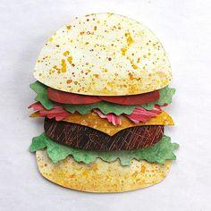 Paper Art Burger by Annemarieke Kloosterhof #burger #hamburger #papercutting #paperillustration