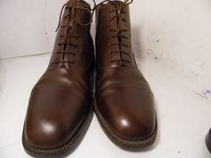 Mezlan Glasgow Brown Leather Ankle Boots Chukka Laces Mens Shoes Size 12 M Cap #Mezlan #AnkleBoots