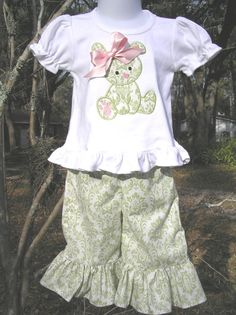 Easter Bunny Shirt and Ruffle Capri Pant Set sizes by juliesonny, $39.99