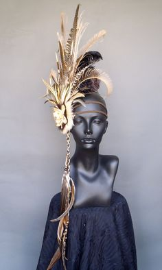 Brown and Ivory Feather Headdress Headpiece