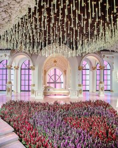 "LEBANESE WEDDINGS on Instagram: ""Talk about TOP TO BOTTOM PERFECTION 💫 Outstanding wedding design with crystal ceiling elements perfectly aligned with the floral catwalk 😍…"" Catwalk Design, Lebanese Wedding, Ceiling Installation, Wedding Stage, Wedding Designs, Valance Curtains, Floral Design, Wedding Decorations, Luxury"
