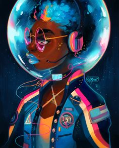 Want to discover art related to afrofuturism? Check out inspiring examples of afrofuturism artwork on DeviantArt, and get inspired by our community of talented artists. Black Love Art, Black Girl Art, Art And Illustration, Fantasy Kunst, Fantasy Art, Arte Black, Space Drawings, Posca Art, Black Art Pictures