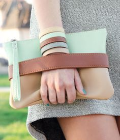 boho chic mint and brown clutch