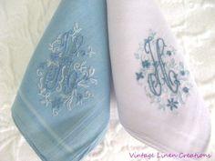 Gorgeous SET Antique MADEIRA Embroidery MONOGRAM French Blue & Lavender HANKIES #Unbranded #Monogram