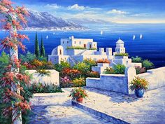Whitewashed Roofs Against A Dark Blue Sea. Must Be The Mediterranean. . . Where Else Could It Be!
